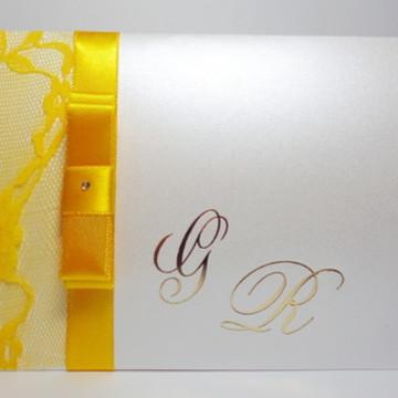 Convite De Casamento Luva Amarelo
