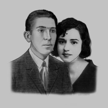 Lindo desenho digital retrato foto antiga Homenagem Póstumas