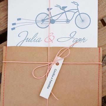 Convite de casamento tema bicicleta