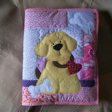 capa para caderno patchwork cachorro