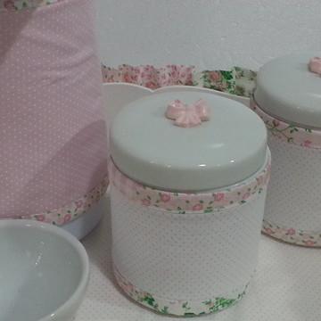 Kit higiene potes cerâmica lacos