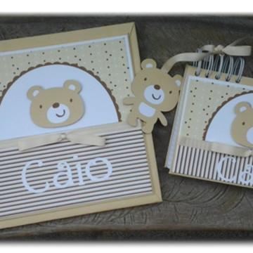 kit Diário Do Bebê e caderno urso fofo