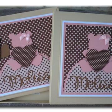 Livro Do Bebê e caixa ursa rosa e marrom