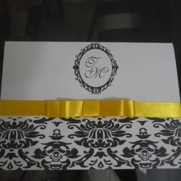 Convite de Casamento Preto/Amarelo