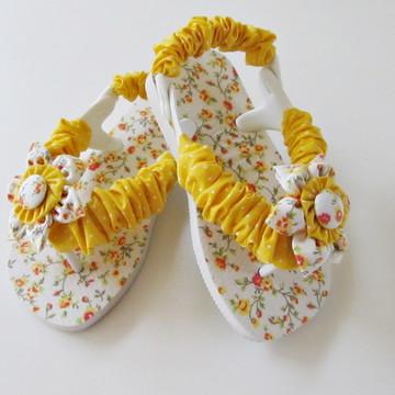 chinelo infantil customizado em tecido