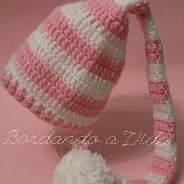 Gorro Elfo Newborn Rosa e Branco