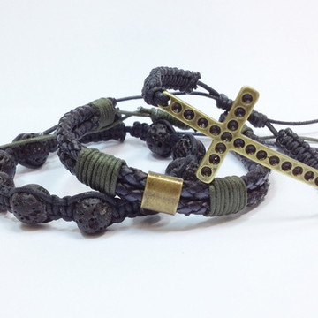 Kit pulseiras masculina com crucifixo