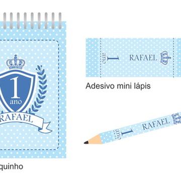 Kit Bloquinho e mini lápis Brasão Azul