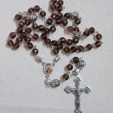 Terço Cristal Uva Coração de Maria