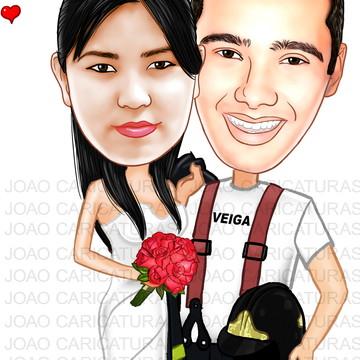 Caricatura para Casamento tema Bombeiro
