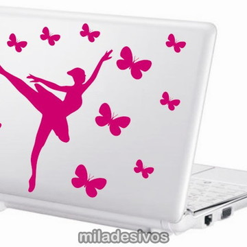 Adesivos notebook bailarina e borboletas