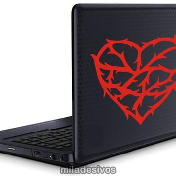 Adesivos notebook coração com espinhos