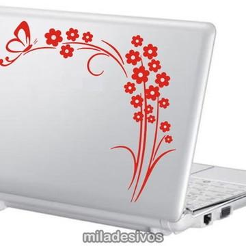 Adesivos notebook flores com borboleta
