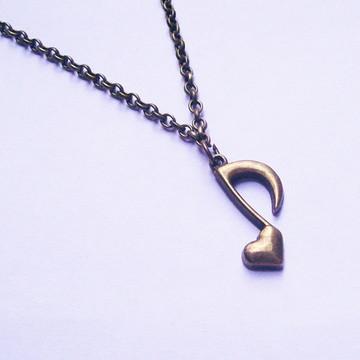 Colar Nota Musical Coração