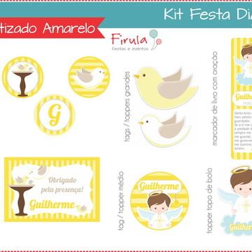 Kit Festa Digital Batizado Amarelo