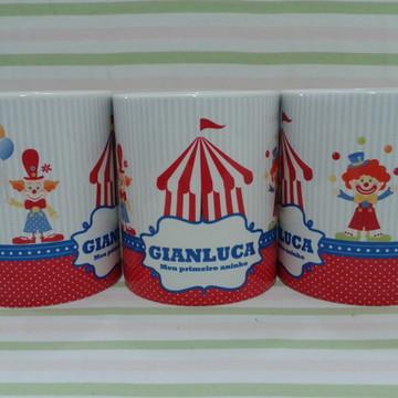 Caneca porcelana lembrança de aniversario circo