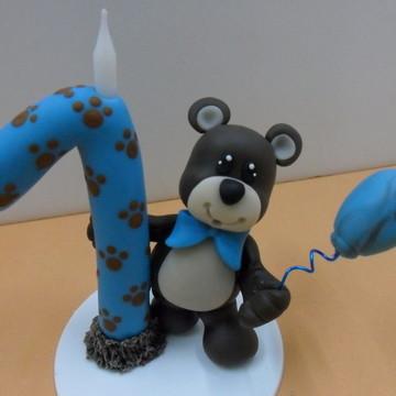 Vela biscuit urso marrom e azul