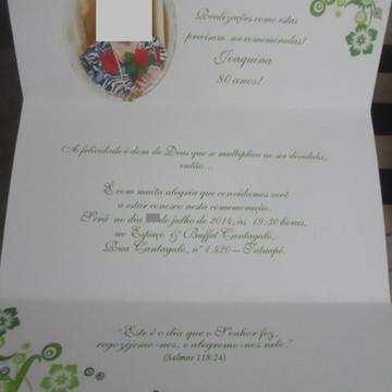 Convite de Aniversário 80 Anos