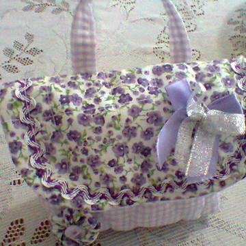 mini bolsinha flor de Lis