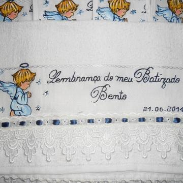 Toalha para batizado anjo azul Marinho