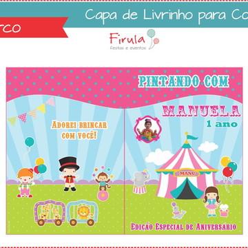 Capa de Livrinho para Colorir Circo Rosa
