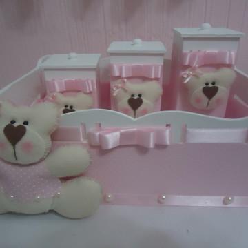 Kit Higiene Bebê Ursa Rosa & Branco