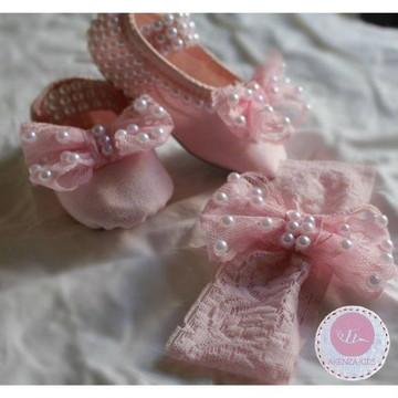 Sapatilha rosa...detalhes em pérolas!!!