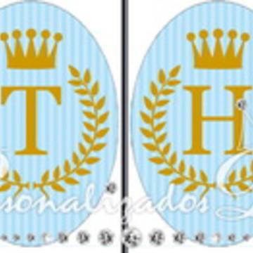 Bandeirola Azul com Dourado