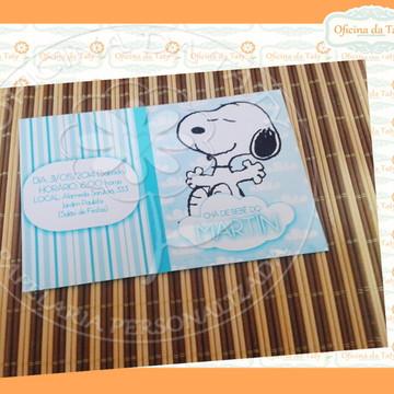 Convite Azul e Branco Snoopy