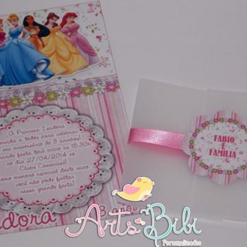Convite Princesas Alto Relevo
