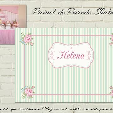 Painel IMPRESSO Cottage Floral e Listras
