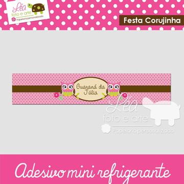 Adesivo para mini refrigerante - Coruja