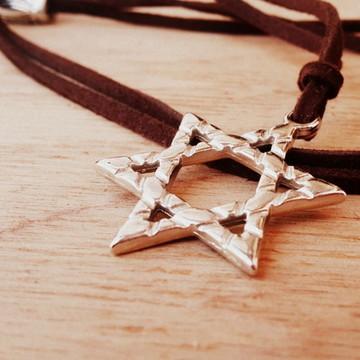 Cordão Camurça Estrela de Davi