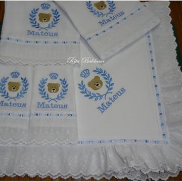 Kit Maternidade Brasão Urso Azul 7P