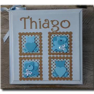 Diário do bebê personalizado menino Ursinho azul e marrom