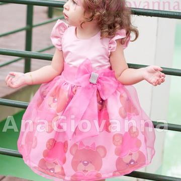 Vestido Infantil Ursinho Marrom e rosa