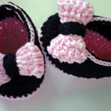 sapatilha de croche lacinho rosa