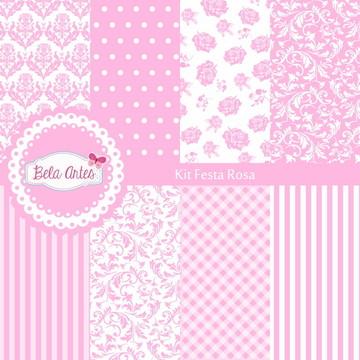 Kit Papel Digital Festa Rosa