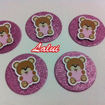 Aplique EVA Glitter - Ursinho Rosa