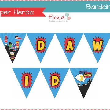 Kit Digital Bandeirolas Super Heróis