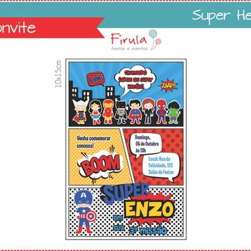 Convite Digital Super Heróis