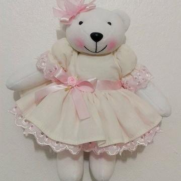 Ursa bege e rosa 30 cm