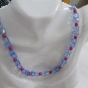 colar cristais azul