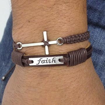 Kit pulseiras masculinas couro