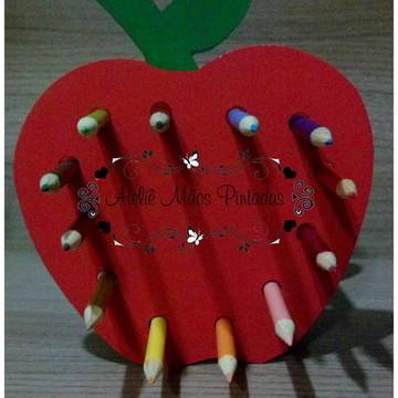 porta lapis de cor maçã