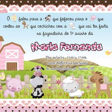 Convite Fazendinha marrom e rosa