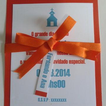 Convite de casamento laranja e turquesa
