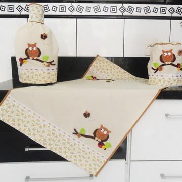 Conjunto de cozinha corujas - rústico