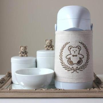 Kit Higiene Urso Cappuccino com Garrafa