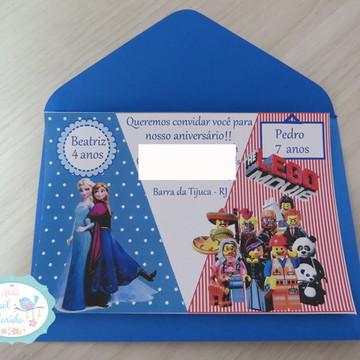 Convite Duplo. Tema: Frozen e Lego Movie